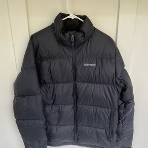 Marmot down filler jacket. Black. Size L